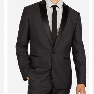 Express Slim Charcoal Wool-Blend Tuxedo Jacket
